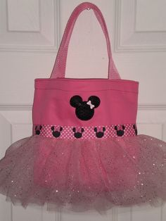 Pink Minnie Mouse Mini Tutu Tote Bag by LollipopLaneBoutique, $15.00    Perfect Party Favor!