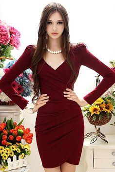 Elegant V neck Long Sleeve Red Dress
