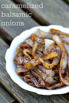 These Balsamic Caramelized Onions are fantastic on burgers, pizza, on a salad, over steak.a great summer topping to just about anything! Perfect for a of July burger topping! Balsamic Onions, Caramelized Onions, Onion Recipes, Vegetable Recipes, Low Carb Recipes, Cooking Recipes, Vegetable Side Dishes, Food Dishes, Dishes Recipes