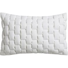 """CB2 Mason Quilted White 18""""X12"""" Pillow With Feather-Down Insert ($40) ❤ liked on Polyvore featuring home, home decor, throw pillows, pillows, white, cushions, filler, plush throw pillows, cb2 and white accent pillows"""