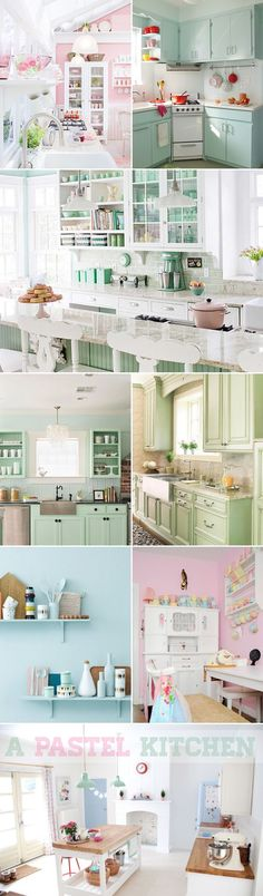 25 Lovely Kitchen Designs - Lots of minty green love #mintkitchen #kitchenremodel #kitchendesign #kitchenideas #Kitchentips #kitchenlayout #diykitchen