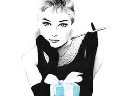 Audrey Hepburn Breakfast at Tiffany& - Pencil and pen drawing - This is a print from my original mixed media drawing: crayons, pencil and marker. Printed on white, - Tiffany And Co, Tiffany Blue, Tiffany Room, Rick Und Morty, Art Blanc, Audrey Hepburn Breakfast At Tiffanys, Mode Poster, Fashion Sketches, Fashion Illustrations