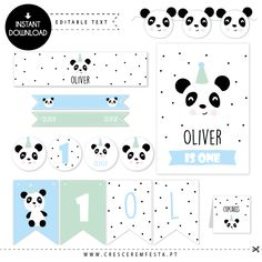 The panda is ready to help decorate your party!! The modern and monochromatic style with details in light blue and mint green will make your party super cute! INSTANT DOWNLOAD | EDITABLE TEXT