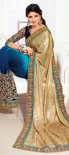 71313eb9112dcb Brasso Bridal Saree in Blue with Thread work