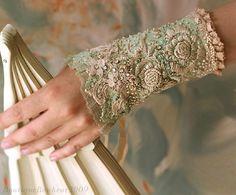 Cherished Moments - beautiful elegant hand embroidered bridal cuff by bonheur (Krista Rääk)