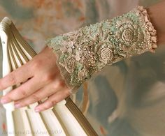 Cherished Moments - beautiful elegant hand embroidered bridal cuff by bonheur (Krista Rääk)