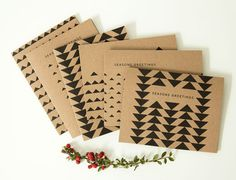 Kraft Triangle Holiday Card Pack  Christmas Card by SoftandLoud, $10.00