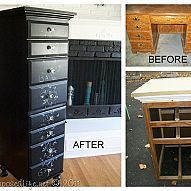 Repurposed Desk into Chest I took apart an old 90's desk, stacked the two pieces into a tall multipurpose chest.#/165461/repurposed-desk-into-chest?&_suid=1358446815505030747860119702363