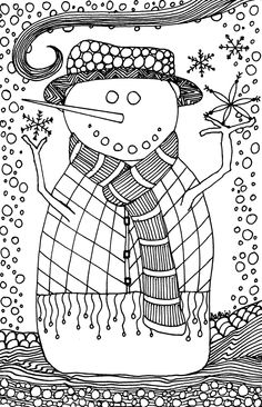 'Color Me' Snowman Holiday Card. COlor in or send as-is. Print as many as you want! www.myartkin.com