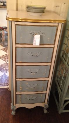 $525. Vintage French Provincial Lingerie Chest Dresser Cream Blue Gold