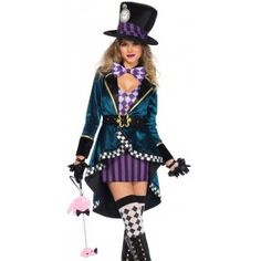 Delightfully Mad Hatter Womens Wonderland Costume text_price $50.00  This 5 piece Mad Hatter costume for women has an elegant gold trim velvet peplum tuxedo jacket with velro closure a tank style purple and white mini dress gold buckled belt bow tie and oversized top hat with purple and black striped hat bad and pocket watch detail.  Other items shown sold separately.  #cosplay #costumes #halloween