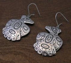 Sterling Silver Tribal Style Northwest Coast Eagle Earrings.  www.EagleDancerGallery.com
