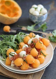 Melon, prosciutto and mozzarella sticks make a great, easy summer appetizer.