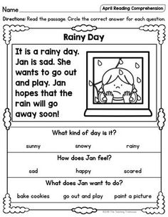 April Reading Comprehension Passages for Kindergarten and First Grade I hope that your students will enjoy these no prep April themed reading passages! Included are a mix of twenty fiction and nonfiction sight 1st Grade Reading Worksheets, First Grade Reading Comprehension, Phonics Reading, Reading Comprehension Worksheets, Reading Passages, Grade 1 Worksheets, English Reading, Reading Skills, Rainy Weather