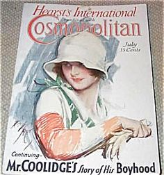 $76 vintage Art Deco Cosmo Cover, COMPLETE ISSUE OF COSMOPOLITAN MAGAZINE FOR JULY 1929. COVER BY HARRISON FISHER, A BEAUTIFUL LADY IN A WHITE HAT WITH WHITE GLOVES.