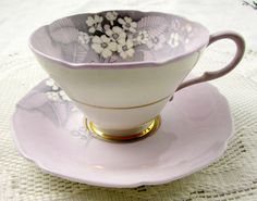 """Paragon 'Primula"""" Tea Cup and Saucer, Purple with White Flowers, Antique Tea Cup, English Bone China"""