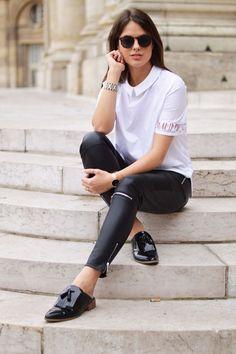 #mode #girl #woman #fancy #cuir #black #white #bracelet