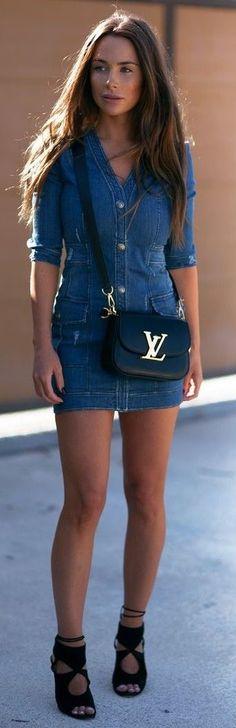 #streetstyle #fashion |Balmain Denim Dress Street Style | Johanna Olsson