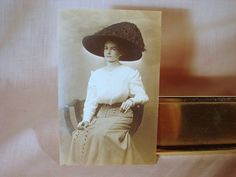 ca 1910 Seated Well Dressed Young Lady RPPC Feathered Hat, Chatelaine, Excellent