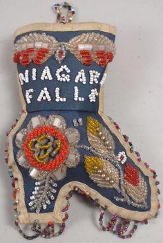 Antique Native American Iroquois Beaded Shoe Wall Pocket ~Niagara Falls Souvenir  | eBay