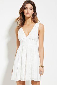 White V Floral Lace Dress