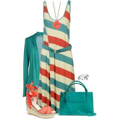 """""""Coral & Aqua for Spring"""" by colierollers on Polyvore"""