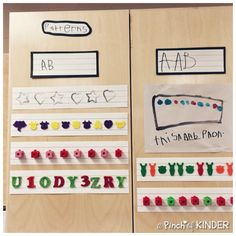 Teaching Patterning in FDK - Part 2 - A Pinch of Kinder Patterning Kindergarten, Kindergarten Anchor Charts, Kindergarten Lessons, Preschool Math, Math Classroom, Math Lessons, Teaching Math, Math Activities, Infant Classroom