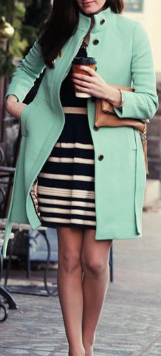 Mint + stripes bam I love these together yuppers pencil striped skirt n mint blouse