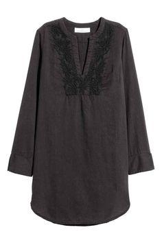 Embroidered cotton tunic - Black - Ladies | H&M GB