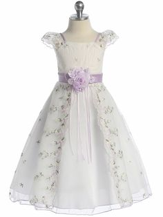 Lilac Floral Embroidered Organza Girl Dress...maybe if your having an old fashioned wedding ? I think this will be a good choice!