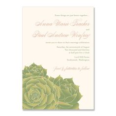 Succulent  - Unique Wedding Invitation by The Green Kangaroo