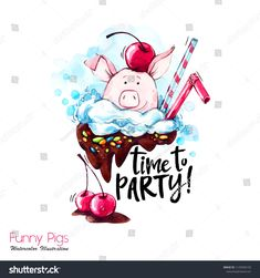 Watercolor cartoon pig with party lettering and cream. Perfect for T-shirts, posters, invitations, cards, phone cases. Cheap Christmas, Merry Christmas And Happy New Year, Christmas Art, Christmas Gifts, Christmas Poster, Christmas Humor, Gift Card Presentation, Best Gift Cards, Pig Illustration