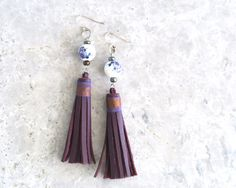 Purple Tassel Earrings  Long Leather Tassel Earrings with