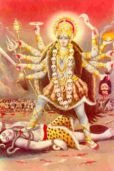 Kali, goddess of empowerment. Story is she descended to rid earth of men who are ignorant, self-focused and full of ego. These same men created wars and violence. You can see their heads around her neck.  However her destruction was so powerful that Shiva her consort sacrificed himself by laying under her feet saving the earth from being destroyed. Booya.