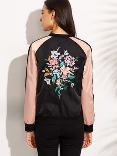 Online shopping for Color Block Embroidered Zipper Front Long Sleeve Jacket from a great selection of women's fashion clothing & more at MakeMeChic.COM.