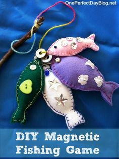 """Links to lots of different tutorials for making a diy fishing game. """" A magnetic fishing game is a classic children's toy and something you can easily make at home. We love to use ours with our frog pond small world play. I also recently shared how we use our fishing game to learn colours, numbers and size sorting. You can read about the various games we play """""""