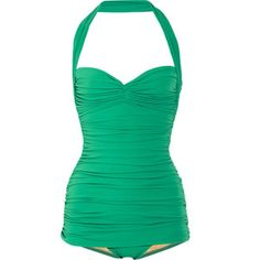 Norma Kamali Bill ruched halterneck swimsuit. Big crush on this one.