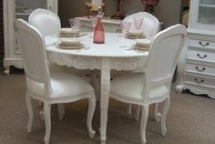 White Round Dining Table, French Dining Tables, French Table, French Chairs, Dining Sets, Affordable Furniture, Luxury Furniture, Furniture Ideas, Furniture Online