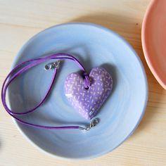 Ceramic necklace Purple necklace Ceramics by TreasureCraftsBox