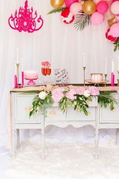 Bridal Luncheon Pink Fancy Chandelier