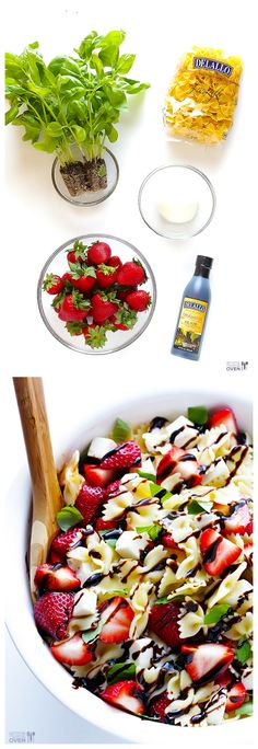 5-Ingredient Strawberry Caprese Pasta Salad -- sweet and savory and SO good! | gimmesomeoven.com #pasta