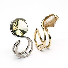 Ring 18K WhiteGold LimeQuartz DiamondsRIGHT:Ring 18K YellowGold RutileQuartz