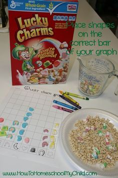 St Patricks Day Activities: Lucky Charms Graph, counting and sorting math lesson.