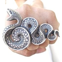 The Serpent ring - left - Sterling Silver plated brass - Extra Strong Durable