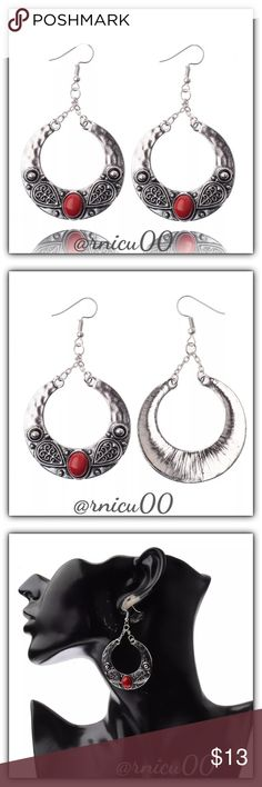🆕Boho Tibetan Silver Round Carved Drop Earrings! Boho Diva Earrings! Tibetan Silver with Beautiful Carved Details & Red Beads; available in 4 colors, all in separate listings; Hook Back for pierced ears.  🔆100% of my Profit is Being Donated to Multiple Sclerosis (MS) Association  - Tibetan Vintage Silver  *NO TRADES *Prices are FIRM-Listed at Lowest Price Unless BUNDLED! *Sales are Final-Please Read Descriptions! Boutique Jewelry Earrings