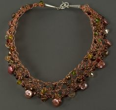 Autumn Harvest:  Crocheted Wire Necklace with freshwater pearls, Swarovski crystals, and sterling clasp. SOLD.