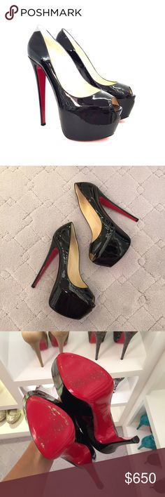 Christian louboutin daffodile peep toe in black Wore twice! Comes with box and dust bags Christian Louboutin Shoes Heels