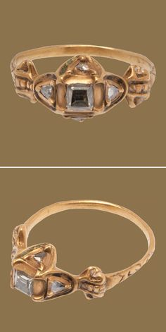 Fine D-ring hoop widening at the shoulders and forming delicate column structures at the shoulders. The shoulders support a quatrefoil bezel set with a table-cut diamond in the center. Four smaller triangular, proto rose-cut or hog-back diamonds are set within shield-shaped frames in each of the lobes. The cruciform under bezel is smooth. Extant trace enameling in several places on the upper bezel. Italy, c 1600