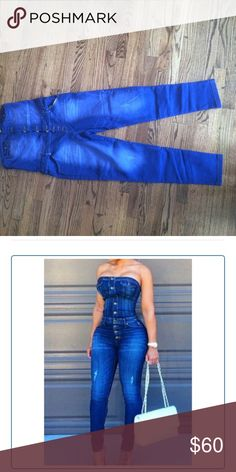 Strapless denim romper. I have 2 strapless denim rompers! They look like the photo and they can fit a size 12 and size 10. I got them for myself but they were too small. I'm a too hippy. More pictures available upon request Jeans Skinny