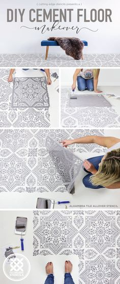 flooring ideas DIY cement floor makeover ideas on a budget using easy-to-use tile stencil patterns from Cutting Edge Stencils Diy Home Decor Rustic, Diy Home Decor On A Budget, Easy Home Decor, Decorating On A Budget, Cheap Home Decor, Decorating Blogs, Painted Cement Floors, Painting Cement, Painting Concrete Floors